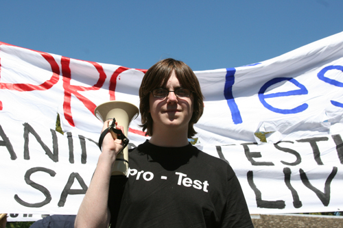 Laurie Pycroft and banner