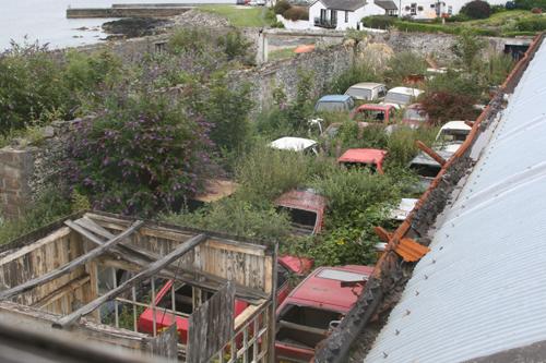 Car dump from hostel window at Port Charlotte