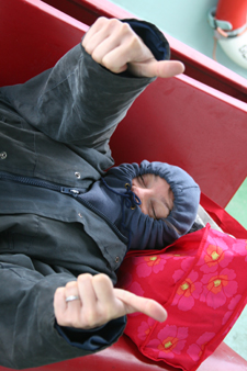 Rachel trying to sleep in gale winds