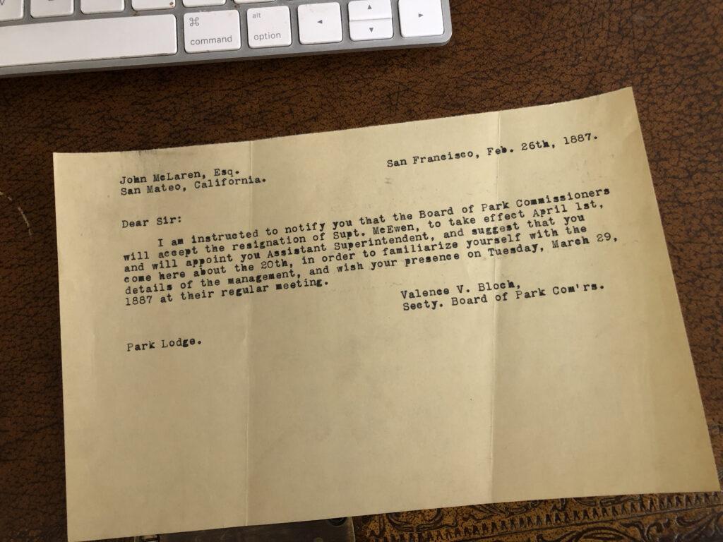Telegram to John McLaren